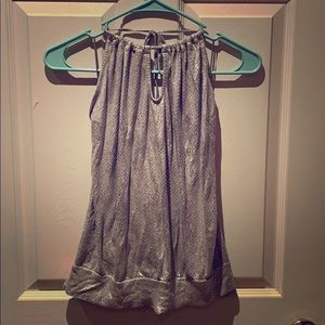 Shimmery silver back less top